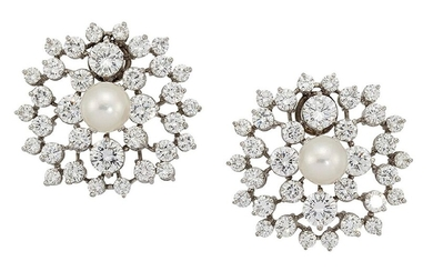 A pair of diamond and cultured pearl cluster...