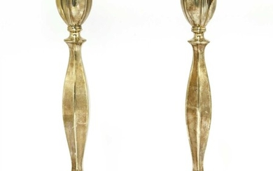 A pair of modern silver candlesticks