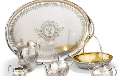 A SILVER-GILT TEA AND COFFEE SERVICE, OVCHINNIKOV, MOSCOW, 1893