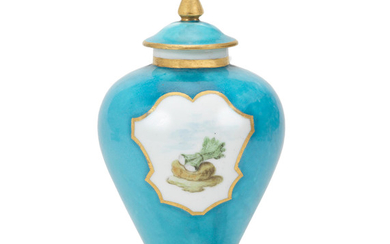 A very rare Capodimonte turquoise-blue-ground tea canister and cover, circa 1745-50