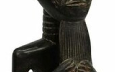 AFRICAN BAULE CARVED WOOD SEATED MALE SCULPTURE