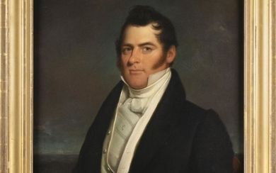 """AMERICAN SCHOOL, 19th Century, Portrait of Captain Joseph Gray Russell., Oil on canvas, old glue lining, 33"""" x 27"""". Framed 39"""" x 33""""."""