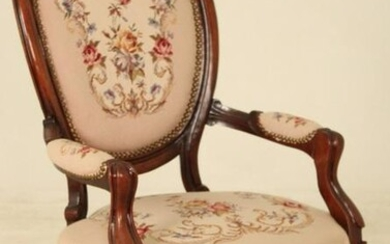 AMERICAN VICTORIAN FINGER CARVED N/P ARM CHAIR