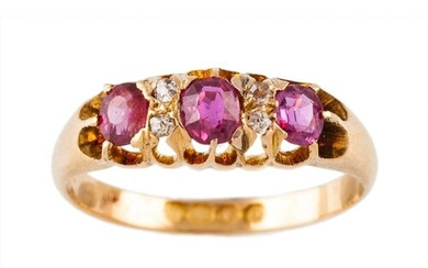 AN ANTIQUE RUBY AND DIAMOND RING, the oval rubies set betwee...
