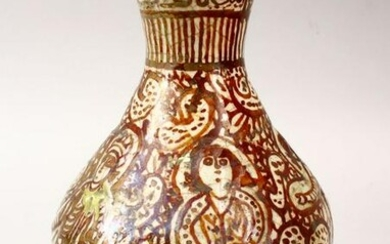 AN EARLY PERSIAN POTTERY VASE OF FIGURES, decorated
