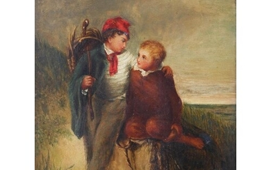 AN EARLY TO MID 19TH CENTURY BRITISH SCHOOL OIL ON CARD WITH...