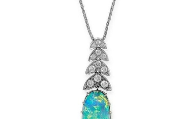 AN OPAL AND DIAMOND PENDANT AND CHAIN, ASPREY & CO in