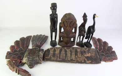 African Carved Figures Together With Other Items Incl Carved Panel