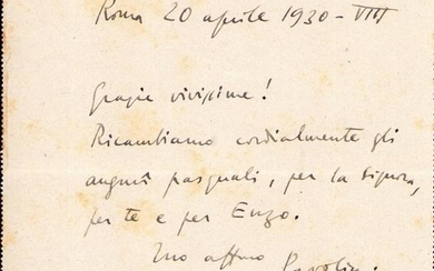 Alessandro Pavolini Italian Politic - Autograph; Letter with Happy Easter Wishes, from Rome - 1930