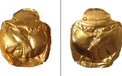 An Egyptian gold foil scarab, Late Period - Roman