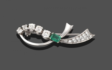 An Emerald and Diamond Brooch, realistically modelled as a white...