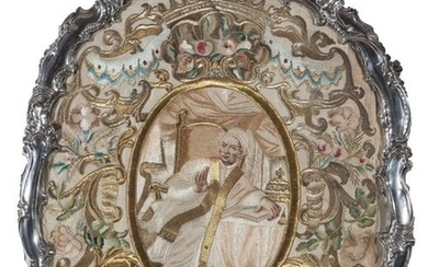 """An embroidered silk panel """"The Pope being enthroned..."""