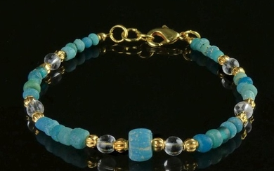 Ancient Roman Glass Bracelet with turquoise glass and melon beads - (1)
