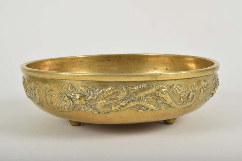 Antique Chinese Bronze Footed Bowl with Dragons