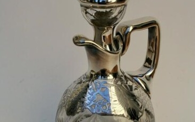Antique Etched Grapes Silvered Glass Decanter
