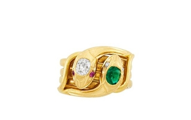 Antique Wide Gold, Emerald and Diamond Serpent Band Ring