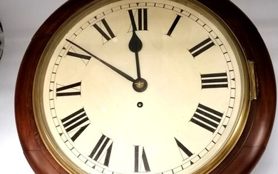 Antique fusée wall clock with mahogany face and body, in goo...