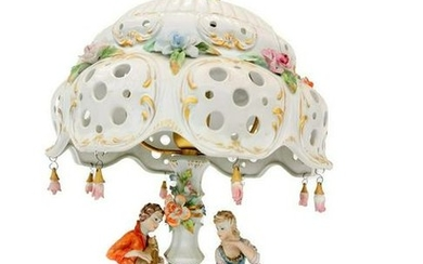 Antique porcelain lamp - Neapolitan - Italian lamp