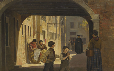 Attributed to Antonietta Brandeis (1848-1926), A street scene with children under an archway