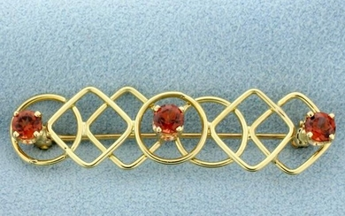 Art Deco Geometric Garnet Pin in 14k Yellow Gold
