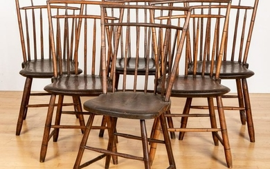 Assembled set of six rodback Windsor side chairs