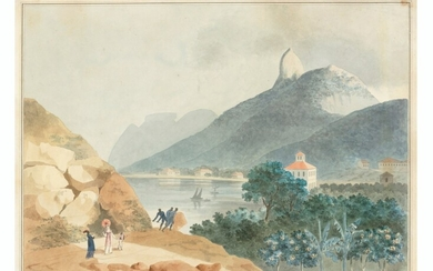 Attributed to Nicolas-Antoine Taunay (1755-1830), La Glória Church, Rio de Janeiro, with the Sugar Loaf beyond; and Botafogo Bay, Rio de Janeiro, with Corcovado, and Pedra da Gávea beyond