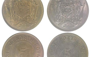 BRITISH NORTH BORNEO Cu Ni 5 cents 1903H and 1921 H (KM