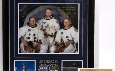BUZZ ALDRIN, NEIL ARMSTRONG AND MICHAEL COLLINS SIGNATURES to...
