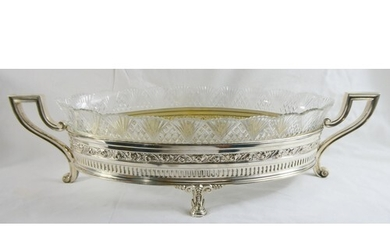 Beautiful large Continental silver and fine cut glass jardin...