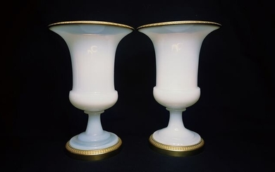 Bercy of Le Creusot - A few Medici Vases (2) - Restauration - Opal Crystal - Opaline Glass - Bulle de Savon - Gilt Bronze