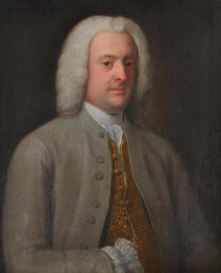 British School (18th century), Portrait of a gentleman wearing a grey jacket and gold embroidered tunic, half length