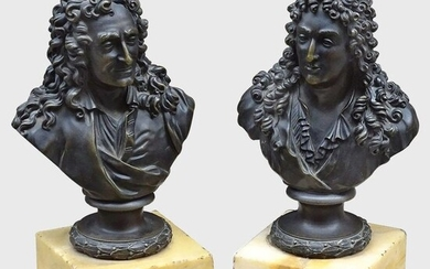 Bust, Racine and Boileau (2) - Bronze, Marble - First half 19th century