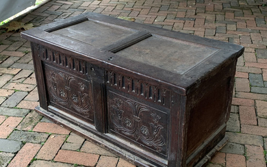 CARVED OAK PILGRIM'S CHEST of SMALL SIZE