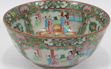 "CHINESE ROSE MEDALLION PORCELAIN BOWL, C. 1900, H 5"", DIA 12"""