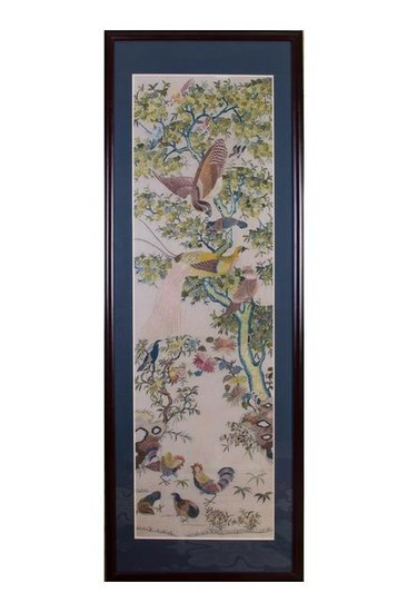 CHINESE SILK EMBROIDERY PANEL, QING DYNASTY