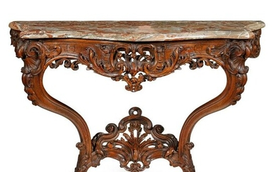 CONTINENTAL MARBLE TOPPED CARVED WALNUT CONSOLE TABLE