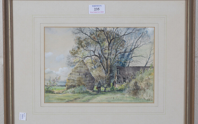 Cecil J. Thornton - Two Figures beside a Haystack and Derelict Barn, watercolour and pencil, signed