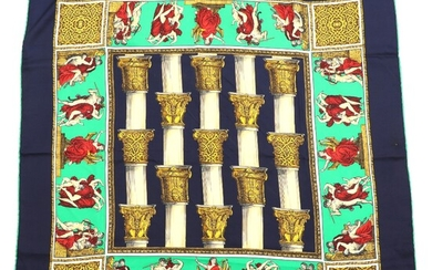 NOT SOLD. Celine: A silk scarf with classial columns and allegorical scenes. 85 x 85...