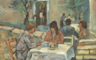 Chaim Sitton (1926-1998) - Figures in The Cafe, Oil on Board.