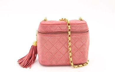 Chanel - Pink Quilted Suede Leather Handbag