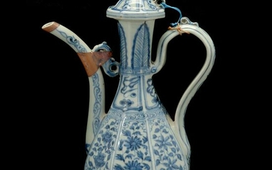 Chinese Blue and White Octagonal Ewer with Cover