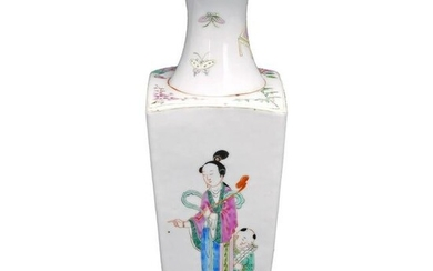 Chinese Early 20th C Polychrome Square Vase