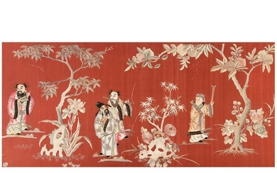 Chinese Red Ground Embroidered Silk Panel