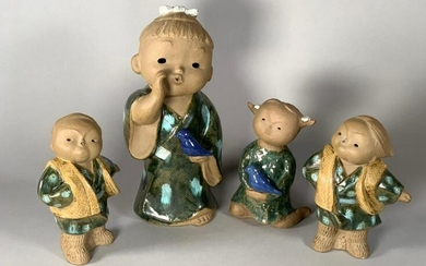 Chinese Shiwan Pottery Figures of Children