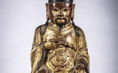 Chinese bronze sculpture with gilt lacquer 'Guandi', Ming Dynasty (12x17x36