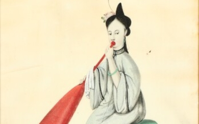 [Chinese export watercolours]. (Lady seated on a drum,...