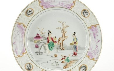 Chinese porcelain plate, hand painted in the famille
