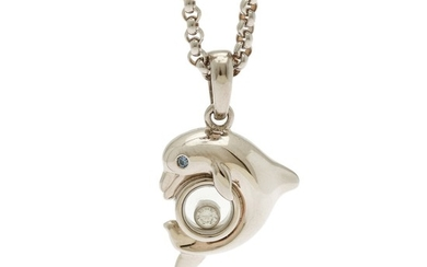 """Chopard: A """"Happy Animals"""" sapphire and diamond pendant set with a single-cut sapphire and a brilliant-cut diamond, mounted in 18k white gold. (2)"""