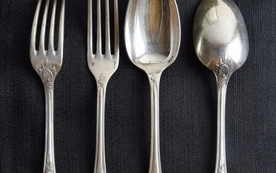 Christofle - Box of 12 forks and 12 tablespoons Marly model (24) - Silver plated