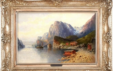 Coastal view with steamboat in the bay, panel 31.5x48